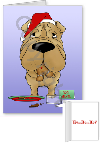 Shar-Pei Santa's Cookies Greeting Cards