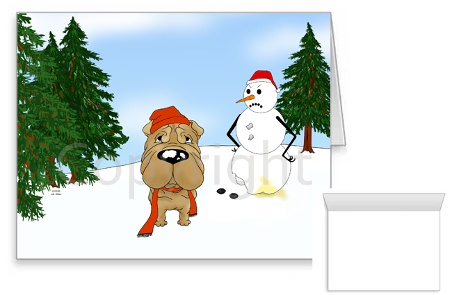 Shar-Pei Winter Snowman Greeting Cards