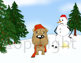 Shar-Pei Winter Scene Greeting Cards