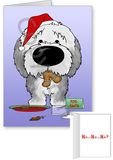 Old English Sheepdog Santa's Cookies Greeting Cards