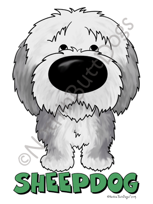 Big Nose Old English Sheepdog Light Colored T-shirts