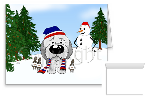 Old English Sheepdog Winter Scene Greeting Cards