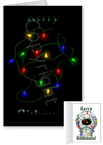 Sheepdog Merry Christmas Lights Greeting Cards