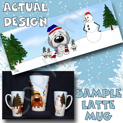 Sheepdog snowman christmas latte mug