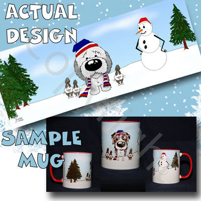 Sheepdog Snowman 11 oz Red Mug