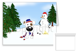 Short Haired Jack Russell Terrier Winter Snowman Greeting Cards