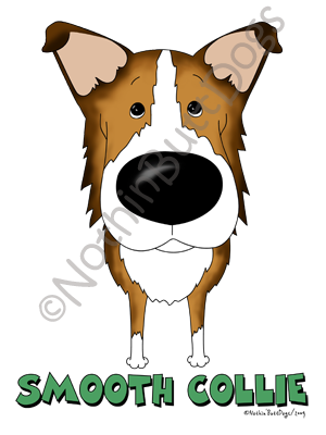 Big Nose Smooth Collie Light Colored T-shirts