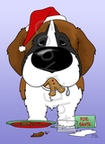 St. Bernard Santa's Cookies Greeting Cards