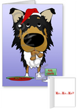 Tri Rough Collie Santa's Cookies Greeting Cards