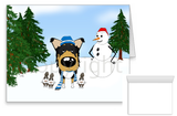 Tri Smooth Collie Winter Snowman Greeting Cards