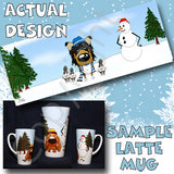 Tri Rough Collie snowman christmas latte mug