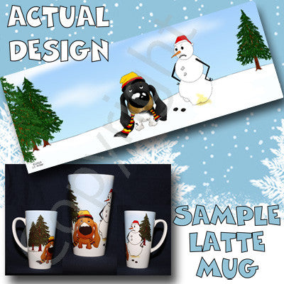 Dachshund Winter Scene 17oz Latte Mug