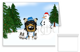 Tri Rough Collie Winter Snowman Greeting Cards