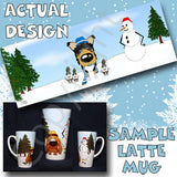 tri Smooth Collie snowman christmas latte mug