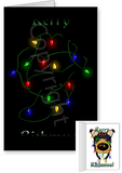 Tri Smooth Collie Merry Christmas Lights Greeting Cards