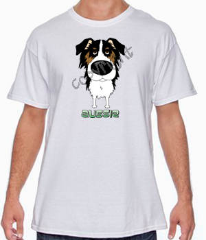 Big Nose Tri Color Aussie White T-shirt