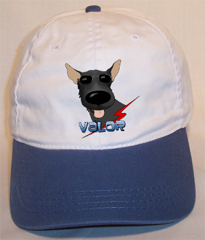 Custom Valor Cotton Cap - White w/Blue Bill