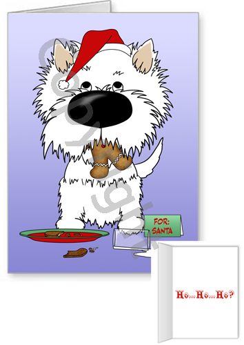 Westie Santa's Cookies Greeting Cards