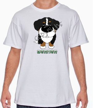 Big Nose Bernese Mt Dog White T-shirt