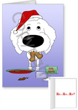 White Poodle Santa's Cookies Greeting Cards