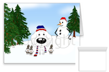 White Poodle Winter Snowman Greeting Cards