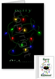 White Poodle Merry Christmas Lights Greeting Cards