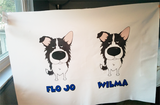 Custom Border Collie Flag - Flo Jo & Wilma