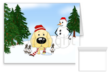 Yellow Lab Winter Snowman Greeting Cards
