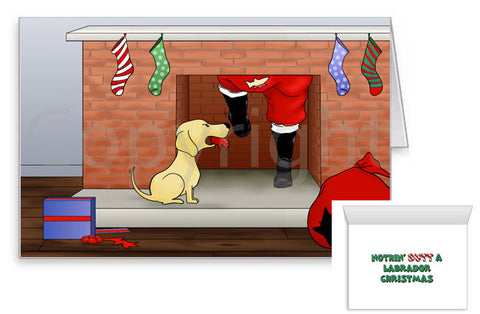 Labrador Santa Butt Greeting Cards