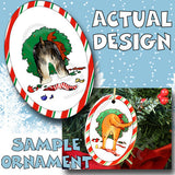 Yorkie Wreath Christmas Ornament