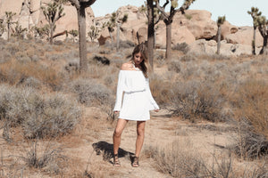 Desert Vibes: Exploring Joshua Tree - Santorini Off the Shoulder Shift Dress, Sololu