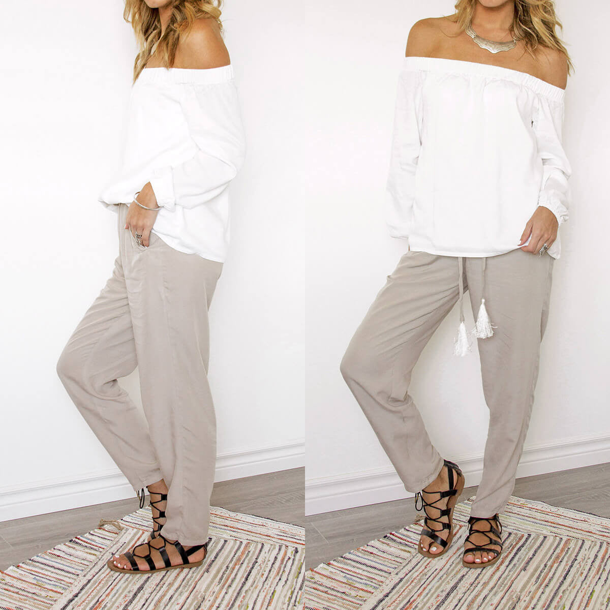 An Ethical, Seasonless Clothing Collection for Women on the Go - Delos Pants and Santorini Off the Shoulder Top, Sololu