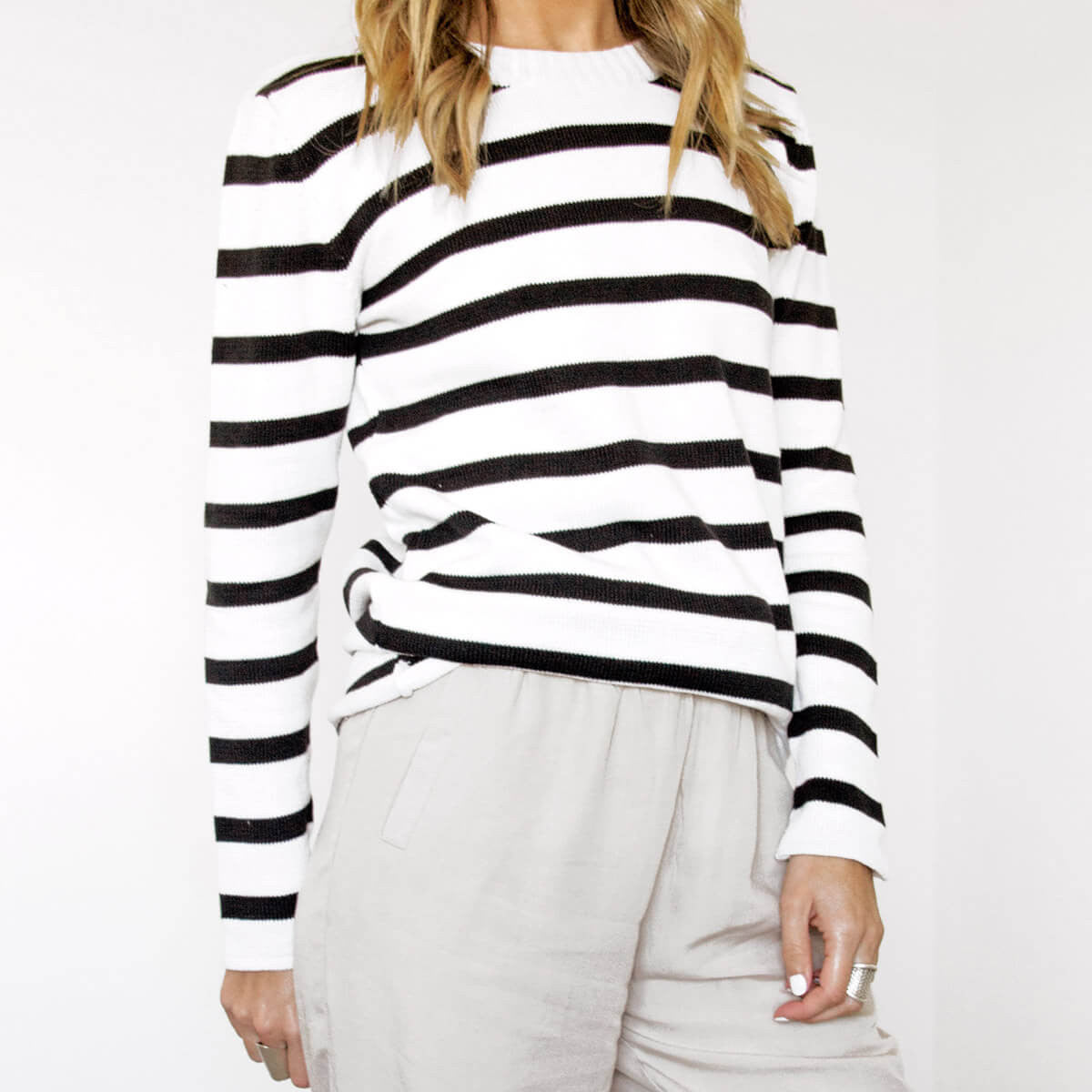 An Ethical, Seasonless Clothing Collection for Women on the Go - Tofino Striped Knit Sweater, Sololu