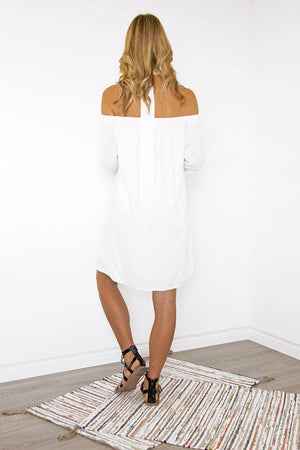 Santorini Off the Shoulder Shift Dress - Sololu
