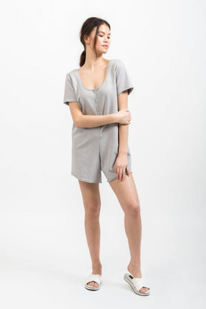 Henley Playsuit - Moon Grey
