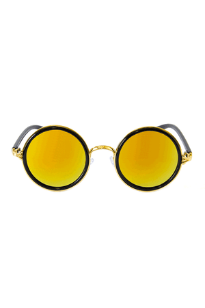 Vintage Inspired Circle Sunglasses Yellow Lenses - Sololu