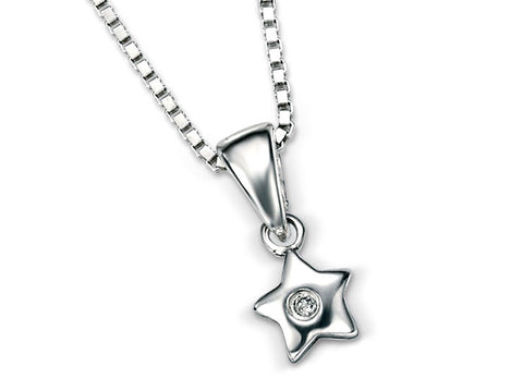 D for Diamond Silver Pendant - Star