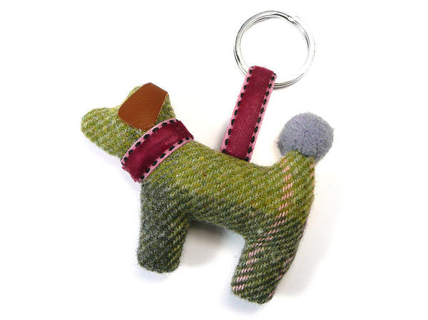 Dog Keyring - Moss Tweed