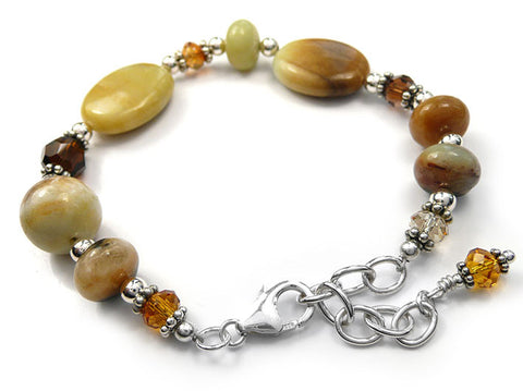 Gemstone Bracelet - Amazon Jasper and Crystal Ginger