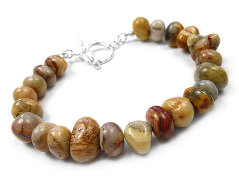 Gemstone Bracelet - Crazy Lace Agate Pebble