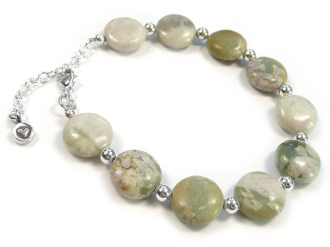 Gemstone Bracelet - Peace Jade Coin