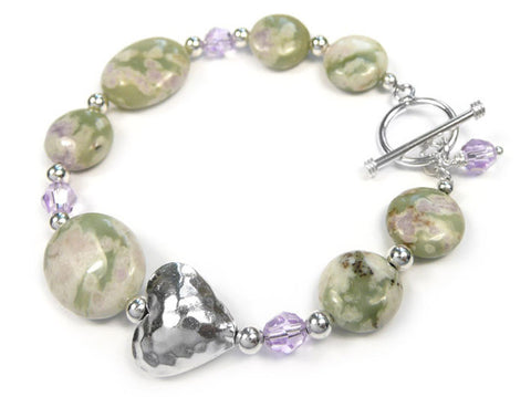Gemstone Bracelet - Peace Jade and Crystal