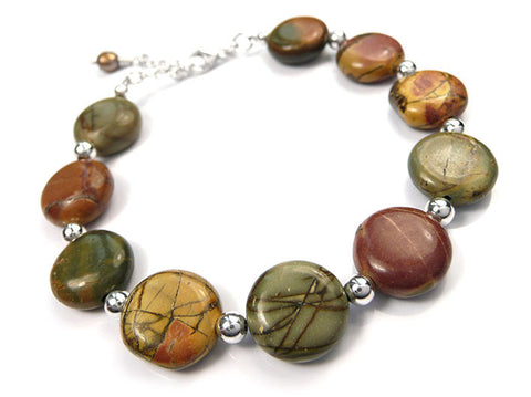 Gemstone Bracelet - Red Jasper Coin