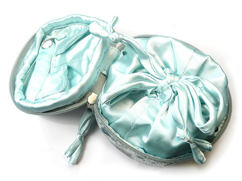 Jewellery Pouch - Grey and Aquamarine Velvet