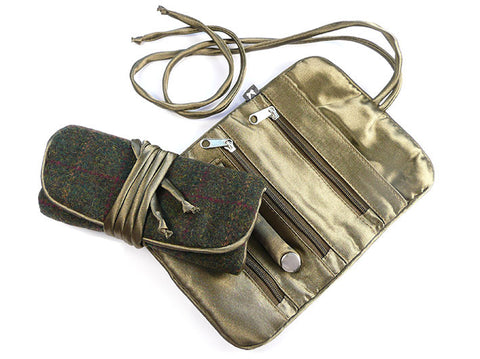 Jewellery Roll - Green Tweed