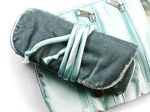 Jewellery Roll - Grey and Aquamarine Velvet