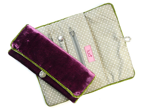 Jewellery Roll - Plum Velvet