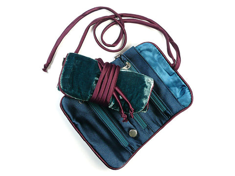Jewellery Roll - Teal Velvet