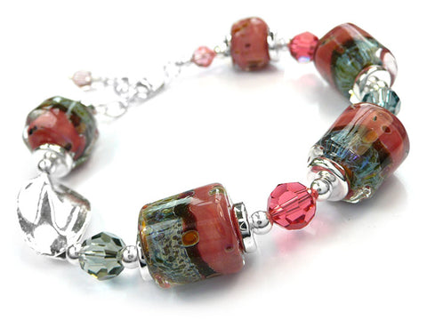 Lampwork Glass Bracelet - Peach Grove