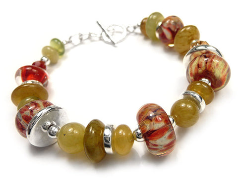 Lampwork Glass Bracelet - Pomegranate